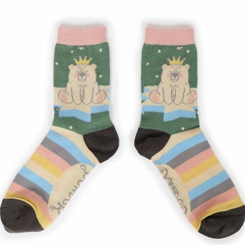 King bear ankle socks