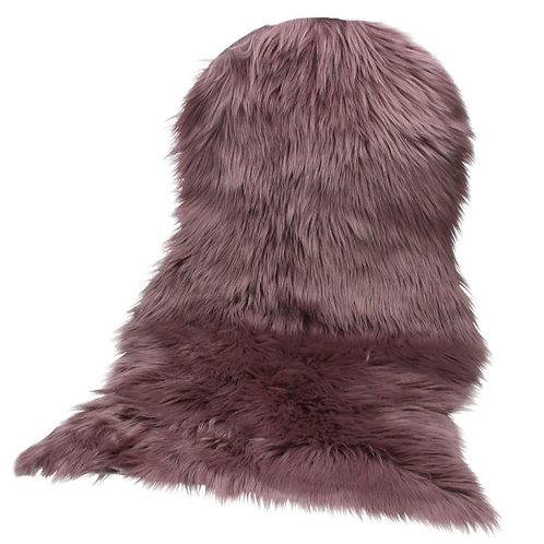 Dusky mauve faux fur rug