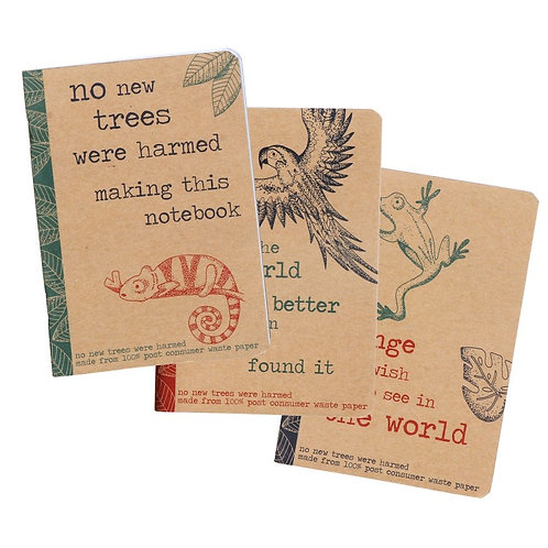 Rainforest set of 3 A6 notebooks
