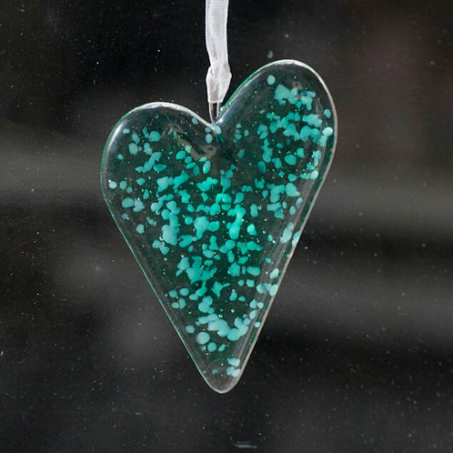 Green Fused Glass Heart
