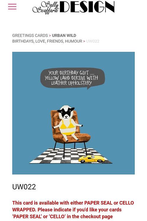 Yellow bikini- greetings card