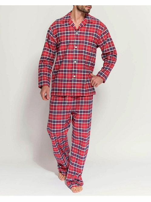 Red tartan brushed cotton men's pyjama set