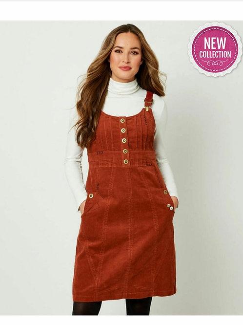 Cord Pinafore Dress - Rust