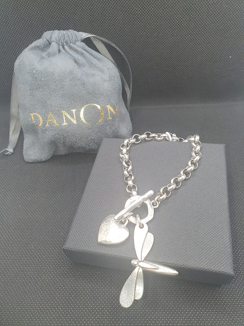 Chunky t-bar bracelet with heart and dragonfly charm