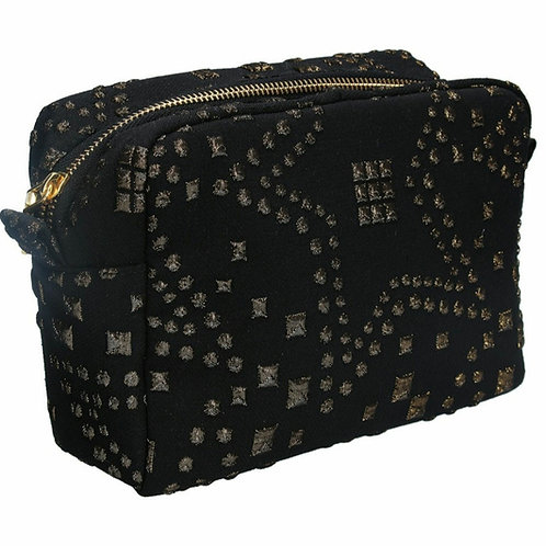 Gold star  jacquard cosmetic pouch