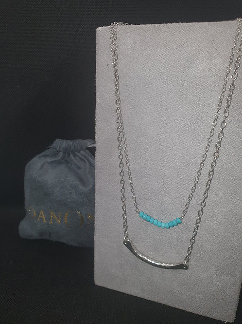 Double necklace with turquoise stones