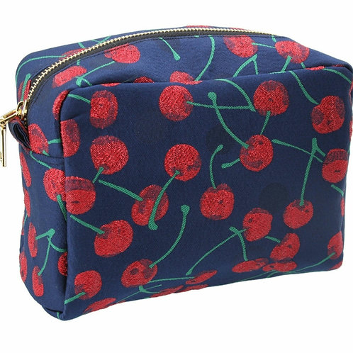 Cherry jacquard cosmetic pouch