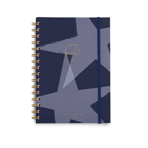 Star Print Spiral Bound Notebook- Shine Bright- Navy