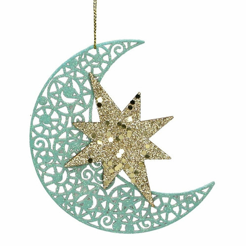 Turquoise and gold wooden moon (17101)