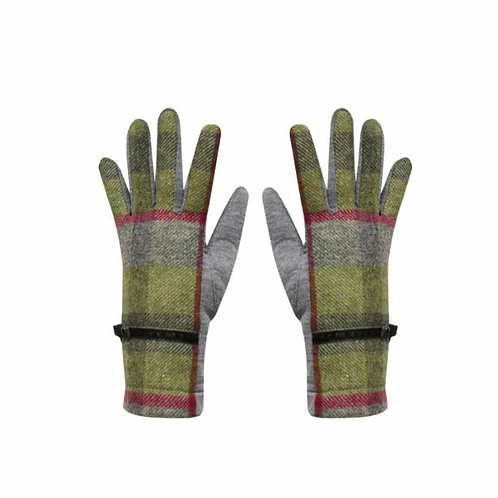 Stone moss tweed gloves