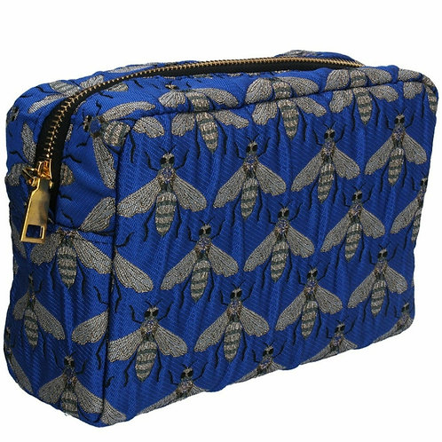 Blue bee jacquard cosmetic pouch