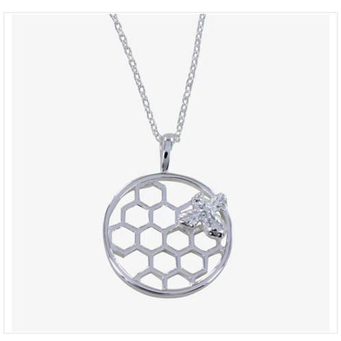 Sterling silver bee & honeycomb necklace  (BB62)