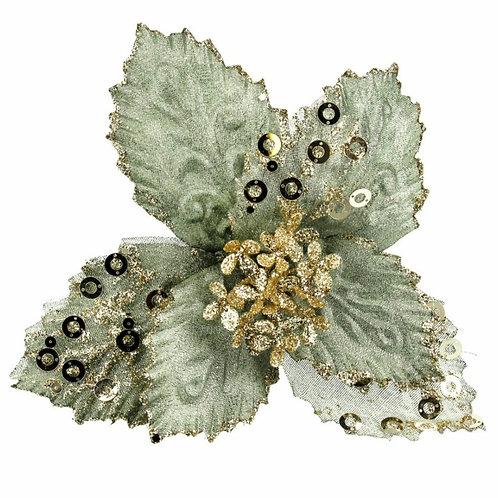 Pale green fabric poinsetta (40874)