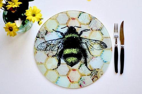 Yellow Patchwork Bee Glass Worktop Saver