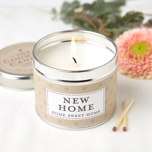 New home tin candle- sentiments collection