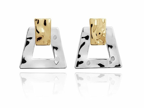Hammered Two Tone Earrings