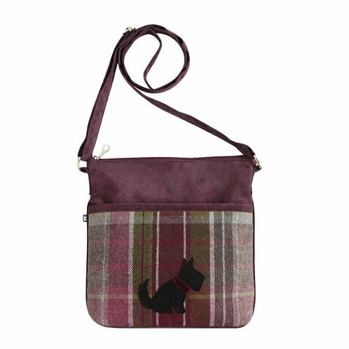 Plum dog tweed applique amelia bag
