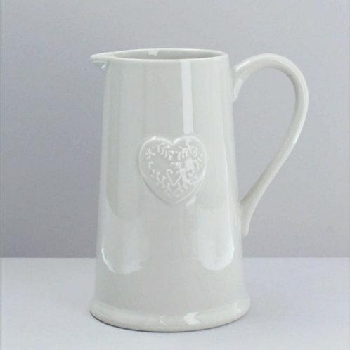 Grey ceramic  heart embossed jug