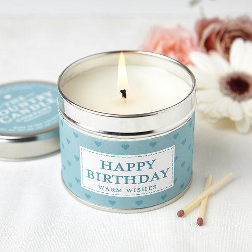 Happy Birthday tin candle - sentiments collection