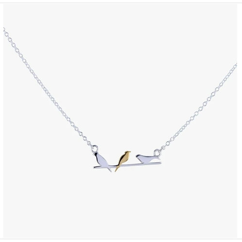 Sterling silver bird on a wire necklace  (BB179)