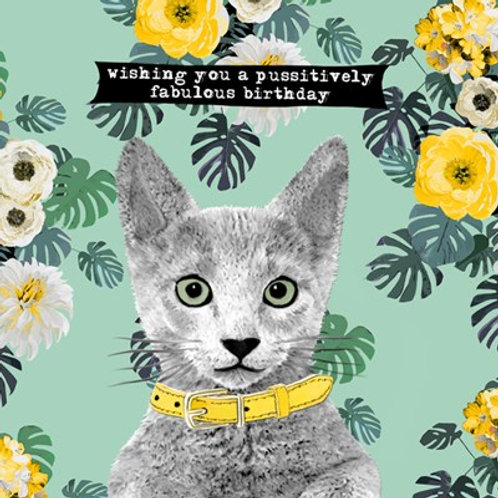 Wishing you a pussitively fabulous birthday -Greeting Card
