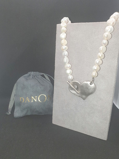 Pearl & silver heart t-bar necklace