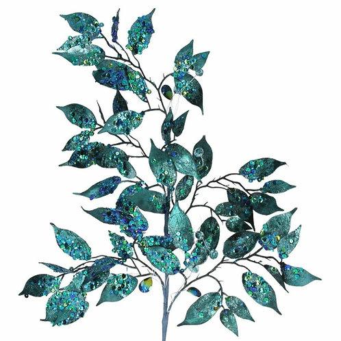 Glitter sequin peacock leaf branch (60513)