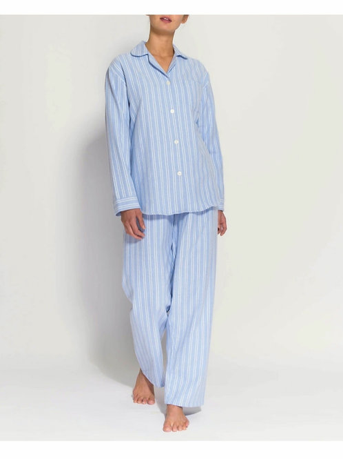 Blue & white westwood stripe ladies pyjama set