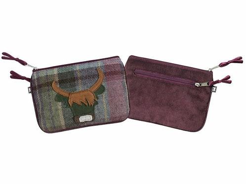 Heather cow tweed applique juliet purse