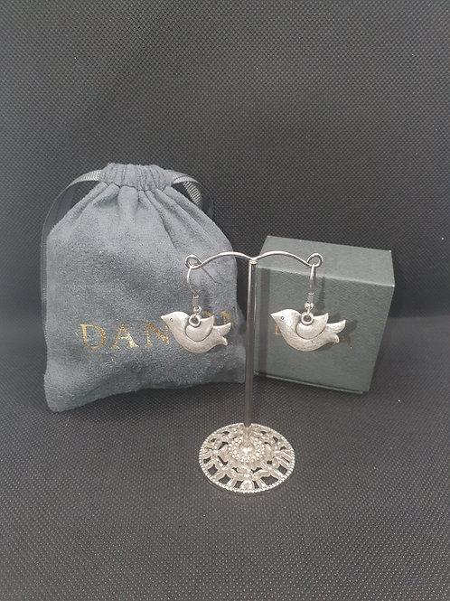 Matte bird drop earrings
