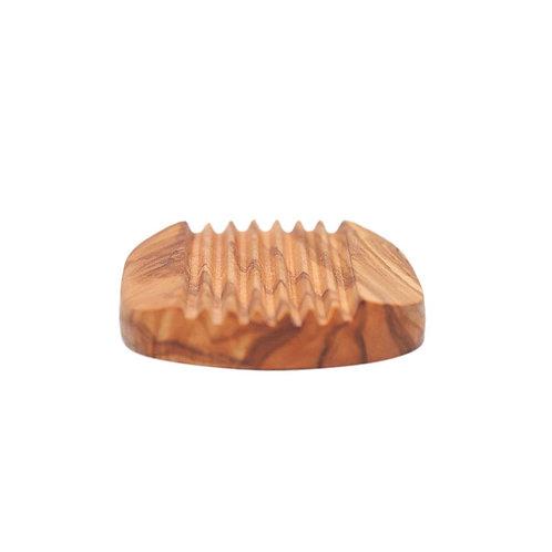 soap dish- olive wood ridged