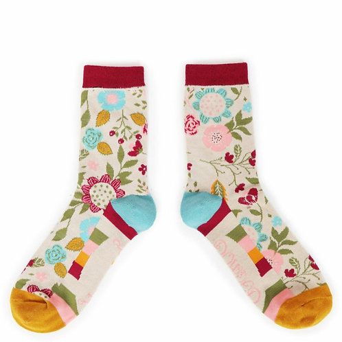 Scandi Floral Ankle Socks (two colourways)