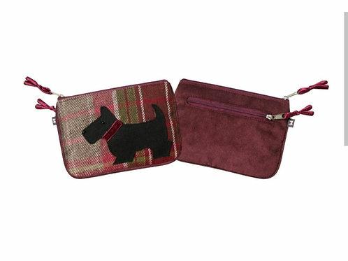 Plum dog tweed applique juliet purse