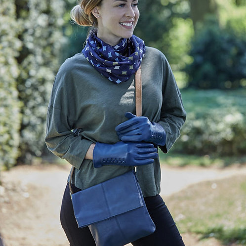 Cliff Leather Bag- Navy