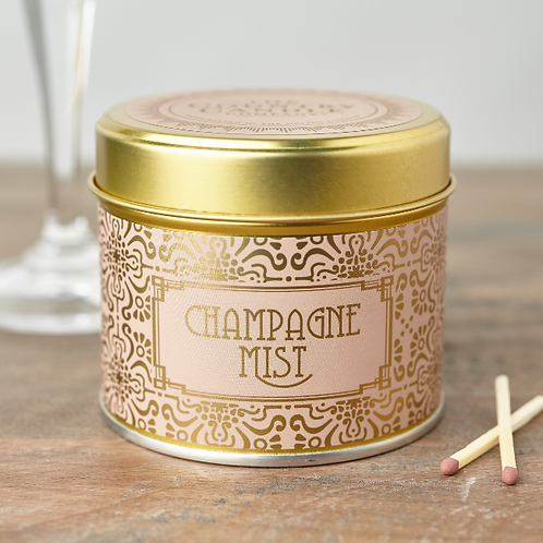 Champagne mist tin candle- Happy hour collection