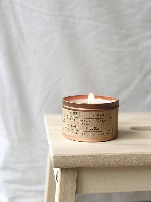 Grove tin candle