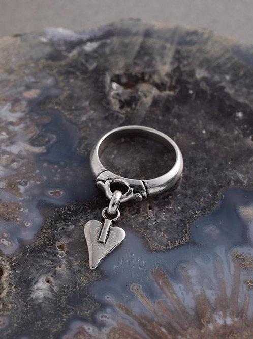 Signature heart charm ring