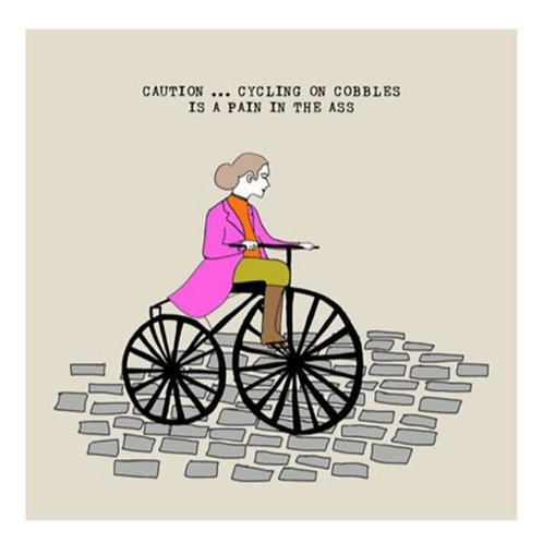 Cycling on cobbles-Greeting Card