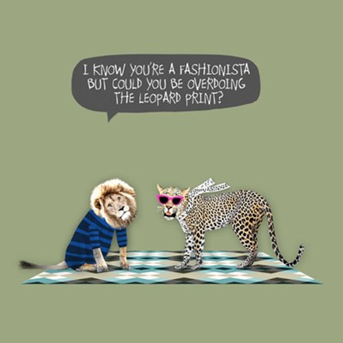 Overdoing the leopard print!!! - greetings card