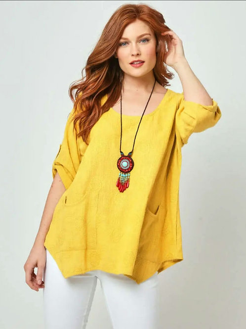 Embroidered spiral top