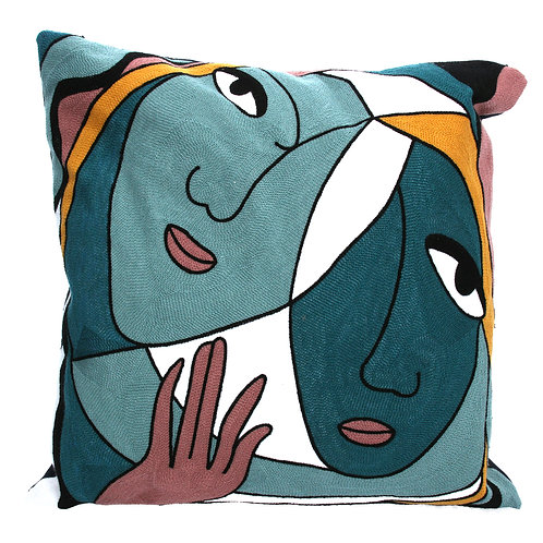 Abstract faces cushion