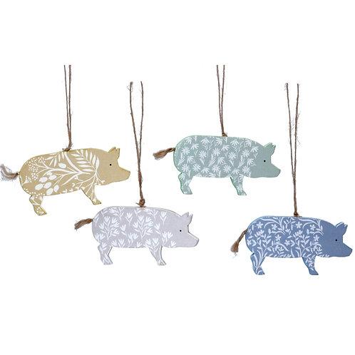 Wooden pig decorations