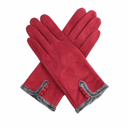 Faux suede gloves