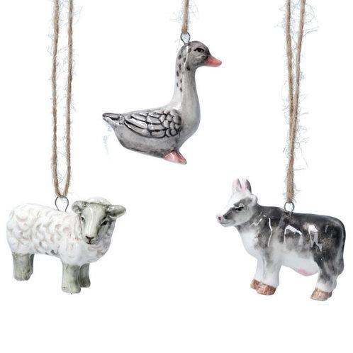 Ceramic animal decoration (3 assorted)
