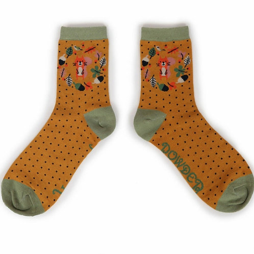 Autumn squirrel ankle socks