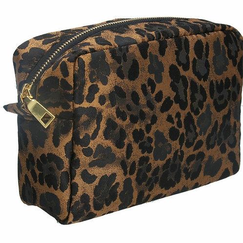 Copper leopard jacquard cosmetic pouch