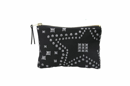 Silver star jacquard purse