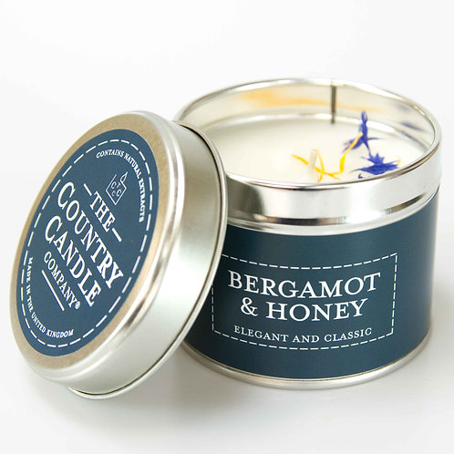 Bergamot and honey tin candle - pastels collection