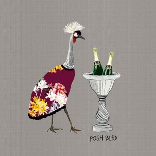 Posh bird- greetings card