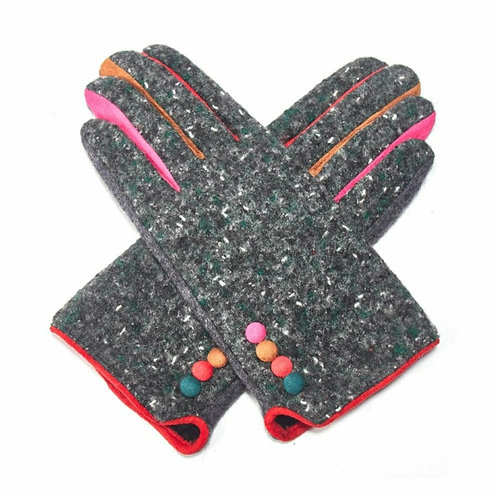 Colourful tweed gloves